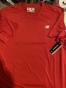 Mens New Balance Accelerate S/S Shirt, Red, XXL