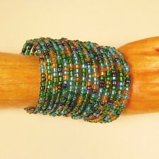 "2 1/4"" Wide Green/Gold Multi Strand Beaded Bangle Handmade Cuff Bracelet"