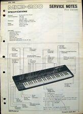 Roland MKB-200 Original 1986 Midi Master Keyboard Wartungshandbuch Skizzen Buch