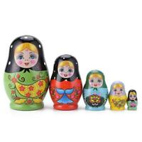 1 Set Nesting Dolls Color Painted Russian Matryoshka Doll Handmade Crafts #JT1