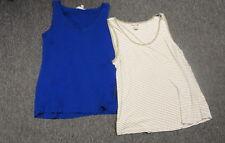 BANANA REPUBLIC Lot of 2 Blue Beige White Casual Knit Tank Tops Medium FF8135