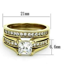 2.10ct Princess AAA CZ  Stainless Steel CZ Wedding 14K Gold EP Promise Ring Set