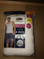 Fruit Of The Loom Mens 3 Pack White A-Shirt Tank Top 100% Cotton SMALL-5XL!!
