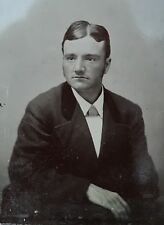 ANTIQUE AMERICAN HANDSOME YOUNG MAN SUIT VEST TINTYPE PHOTO