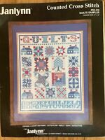 "1987 JANLYNN  Counted Cross Stitch Kit  QUILTS SAMPLER  14""X16"""