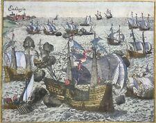 Netherlands battle 1573 Enkhuizen Zuiderzee publ'd 1616, Baudartius antique view
