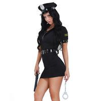 Sexy Déguisement Policière Femme Accessoire Police Costume Halloween Party Tenue