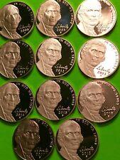 2008-S-2018-S. Jefferson 5c Proof Nickel Run 11 Proof Coins. Gem Deep. Cameo PF.