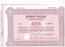 Bremer Vulkan Schiffbau...Bremen-Vegesack 1973, 50 DM, ungelocht/ Kupons