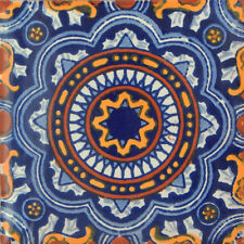 "Handmade Mexican Tile Sample  Talavera Clay 4"" x 4"" Tile C176"