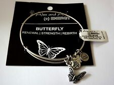 Alex and Ani BUTTERFLY Charm Bangle Bracelet  NWT BOX Russian SILVER  RETIRED