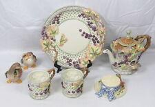 Lot 7 Fitz & Floyd Chateau Garden Grapes Plate Teapot Cup Salt Pepper Goose Bird