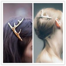 Women Gold Antler Hair Cuff Clip Headband Hairpin Accessory Goth Punk hair decor