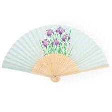 Vert clair iris japonais pliable ventilateur