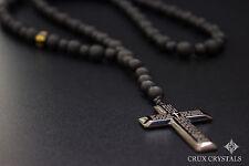 Men's Cross Pendant Black Onyx Rosary Beaded Necklace Gemstone Prayer's Jewelry