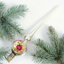 Vintage Soviet Russian Christmas Tree Glass Topper with Indent USSR 1950-60s