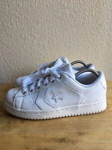 Converse NBA Low Top Vintage Men' Leather Basketball Shoes Size 8.5 Triple White