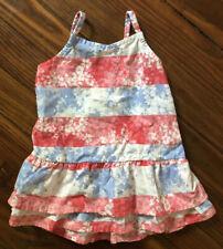 Oshkosh B'gosh Baby Girl Red White & Blue Striped Floral Dress - Size 6 Months
