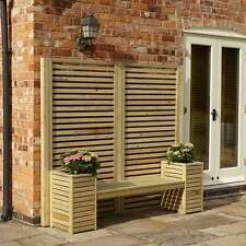 Rowlinsons Garden Creations Wooden Seat Bench Planter Panel Fence Screen Set