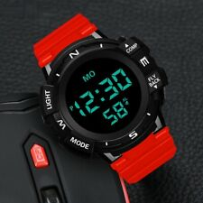 Sports watch for HONHX Digital LED Date Alarm Jogging Red Black Silicone