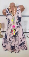 Kleid Sommer Ibiza Blumen Strand Lagenlook Hippie süß rosa weiß 36 38 40 1