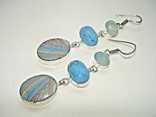 AB One-of-a-Kind Rainbow Calsilica Chalcedony Turquoise Silver Earrings 2.75""