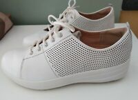 Fitflop Cushion Comfort  Leather Trainer Sneaker  White Size 3 Ladies Womens