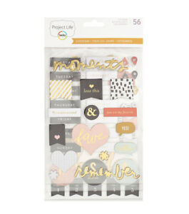 American Craft Project Life Everyday Edition Collection Chipboard Stickers 56 Pc