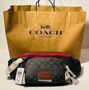 Coach Men's Belt Bag Fanny Pack Crossbody Colorblock Black Red Signature Leather