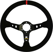 Dragonfire Racing Round Steering Wheel 6-Bolt with 2.5in. Offset - Suede/Black