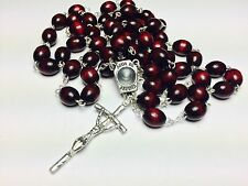 HOLY WATER FROM FATIMA RELIC CHERRY WOODEN ROSARY BLESSED BY POPE FRANCIS GIFT