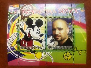 Republic of Djibouti Souvenir Sheet Andre Agassi - Armenia Tennis Walt Disney