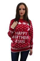 New Novelty Fun 'Happy Birthday Jesus' Festive Xmas Red Knitted Christmas Jumper