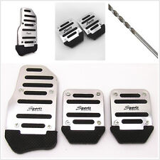 New 3 Pcs Silver Manual Series Automobile Non-slip Safety Brake Foot Pedal Cover