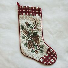 Christmas Stocking Needlepoint Pine Cone Holiday Decoration Handmade Embroidery