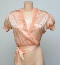 Vintage Designer 1940s Isabel Nish Pink Satin Puffed Sleeve BED JACKET
