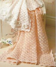 Crochet Shawl and Pram Cover Pattern in DK with flowers  828