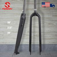 "TOSEEK 26/27.5/29"" MTB Bike Rigid Forks Full Carbon 1-1/8"" Straight Tube Disc"