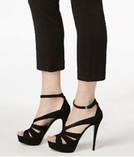 Michael Kors Leighton Heel Ankle Strap Sandals Pumps Strappy Suede Black 10 M