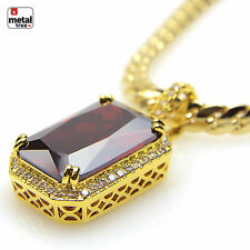 Men's 14K Gold Plated Mini Red Ruby Pendant Miami Cuban Chain Necklace BCH 11174