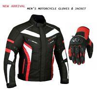 Mens Cordura Textile Waterproof Motorcycle Jacket with Motorbike Summer Gloves