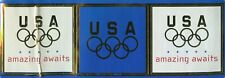 """Olympic Rings """"Usa"""" """"amazing awaits"""" vintage blue sticker / decal / applique set"""