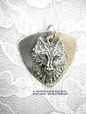 NEW MUSICAL PEWTER BASS GUITAR PICK & DETAILED WOLF HEAD PENDANT ADJ NECKLACE