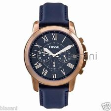 Fossil Original FS4835 Men's Grant Navy Leather Watch 44mm