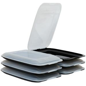 6 Stapelbare Aufschnittbox Frischhaltedose Wurst Behälter Aufschnittdose Schwarz