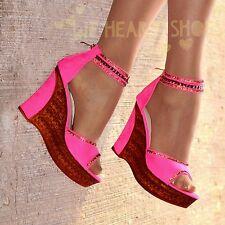 Ladies Platform Wedges High Heel Ankle strap Open Toe Sandals diamante shoe Size