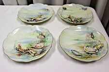 Set 4 Limoges France Sea Ocean Plates Shells Oyster Scalloped Gold Edge