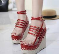 Womens Roman Sandals Casual Shoes Platform Open Toe Wedge High Heels Buckle New