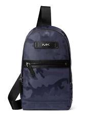 New Michael Kors Mens Kent Camo Nylon Sling Pack Backpack Indigo Blue NWT $198