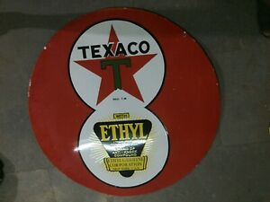 """Porcelain Texaco Ethyl Enamel Sign Size 36"""" Inches Double Sided"""